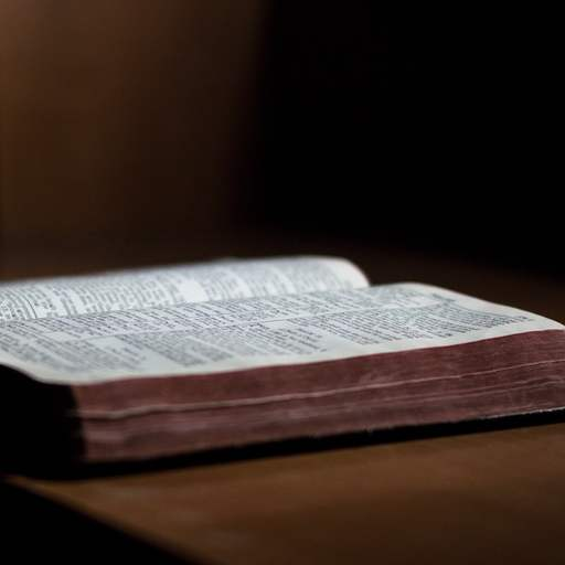 A Bible open on a table